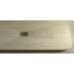 Piatto Doccia in Pietra Sintetica Effetto Legno 70X90 cm Asimmetrico Stondato