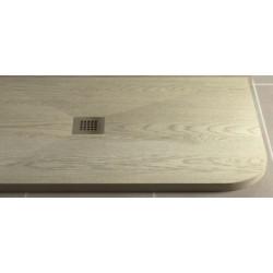 Piatto Doccia in Pietra Sintetica Effetto Legno 80X100 cm Asimmetrico Stondato