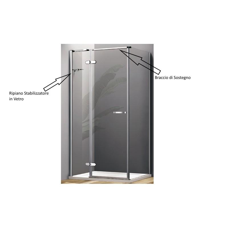 Box doccia con porta a battente e parete fissa cristallo 8 - Porte a parete ...
