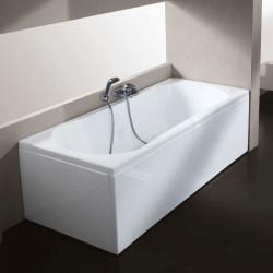 Vasca con Pannello 70 X 150 cm in Vetroresina Inclusa Colonna di Scarico Altezza 60 cm