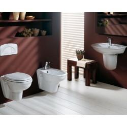 Sanitari sospesi Karla Rak completi di lavabo e semicolonna in ceramica Sedile Wc Incluso
