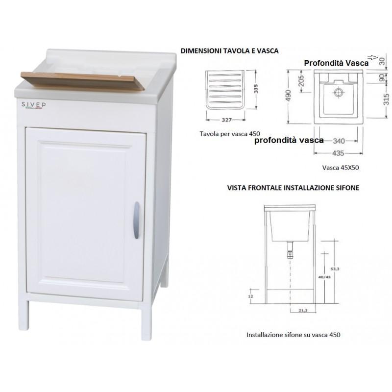 Acquista online il mobile lavatoio in resina sivep 45 x 50 cm for Carrelage 45 x 45