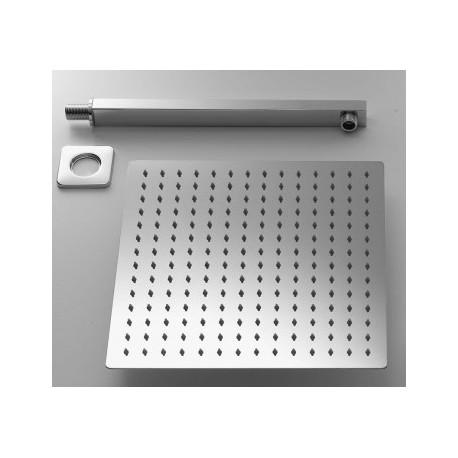 Completo Set Doccia Quadrato con Soffione 2x30 cm + Braccio Doccia Marca Ares
