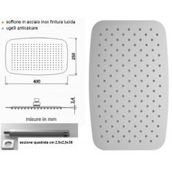 Completo Set Doccia Quadrato con Soffione 25x40 cm + Braccio Doccia Marca Ares