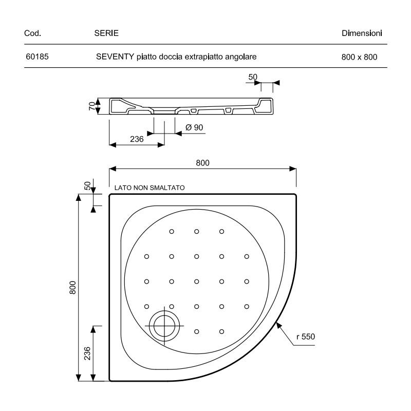 Pozzi ginori piatto doccia 80x80 ad angolo cm seventy - Dimensioni doccia standard ...