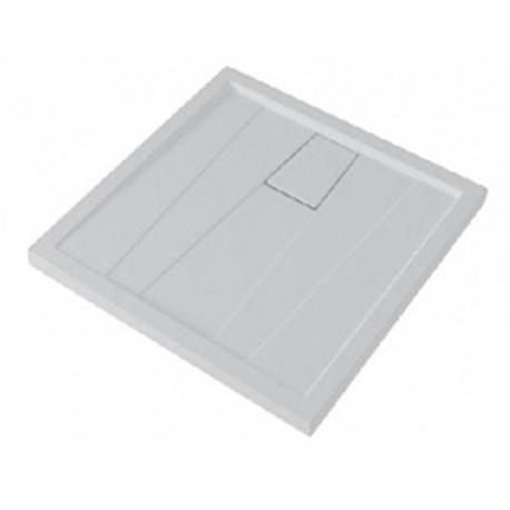 Piatto Doccia 80X80 cm Graffio Pozzi Ginori Bianco + Copripiletta Quadrato Spessore 60 mm