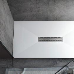 Su Misura da 60 cm H 3 Piatto Doccia in Solid Surface Lux con Piletta Centrale a Filo