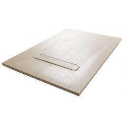 Su Misura da 60 cm Piatto Doccia in Mineral Marmo Ardesia Effetto Legno Modello Prisma con Griglia in Tinta