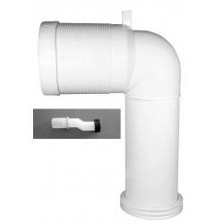 Kit per sanitari con scarico traslato per distanza da 6 a 15 cm con curva e raccordo eccentrico