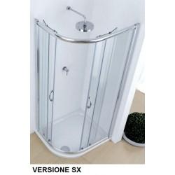 Box Doccia ad Angolo Asimmetrico 80 x 100 cm Cristallo 6 mm Profili Cromo (cod.p48) con Trattamento Anticalcare