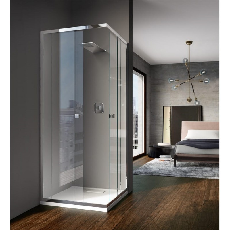 Treesse sipario box doccia con doppia porta scorrevole cristallo 8 mm - Porta in cristallo scorrevole ...
