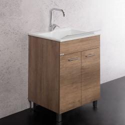 Lavarredo Unika con lavabo Zeus metacrilato 60x50 cm Elle Emme Ci Istallazione Interno Finitura Olmo Naturale