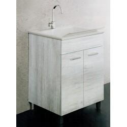 Lavarredo Unika con lavabo Zeus metacrilato 60x50 cm Elle Emme Ci Istallazione Interno Finitura Olmo Bianco