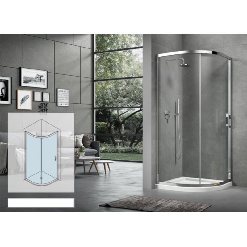 Box doccia semicircolare 80x80 cm cristallo 6 mm apertura anta unica - Cabine doccia per disabili ...