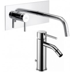 Paffoni Light Miscelatori Lavabo Incasso a Parete LIG101CR + Bidet LIG135CR