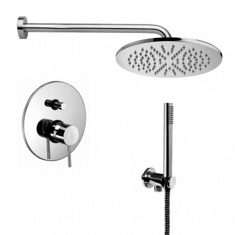 Composizione doccia Paffoni Light con Soffione Ellittico, miscelatore con deviatore e set duplex