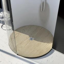 Piatto Doccia Tondo da Diametro 90 cm Effetto Legno in Pietra Sintetica