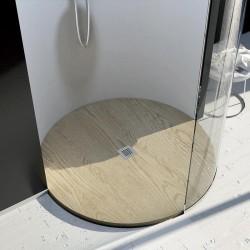Piatto Doccia Tondo da Diametro 100 cm Effetto Legno in Pietra Sintetica