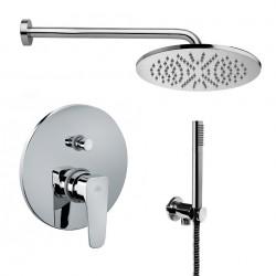 Composizione doccia Paffoni Sly con Soffione Ellittico, miscelatore con deviatore e set duplex