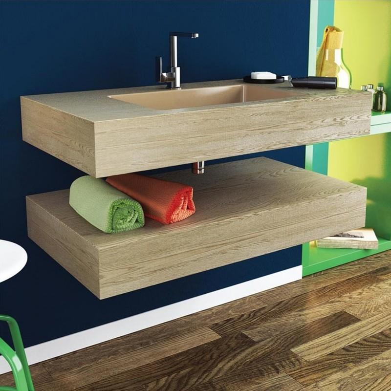 Relax Design - Top Lavabo Integrato da 50 cm Marmo Resina Legno