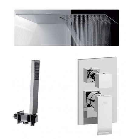 Composizione Doccia Paffoni Level Miscelatore con Deviatore a 3 Uscite + Set Duplex + Soffione Mariani Ultrapiatto SRO/05