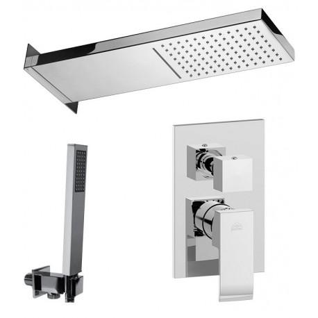 Composizione doccia Paffoni Elle con Soffione CASCADE + miscelatore con deviatore a 3 Uscite + set duplex