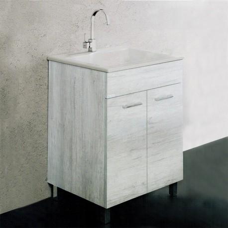 Mobile Lavatoio con Strizzatoio in Porcellana 60x50 cm Installazione Interno Finitura Olmo Bianco