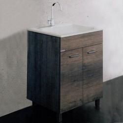 Mobile Lavatoio con Strizzatoio in Porcellana 60x50 cm Installazione Interno Finitura Olmo Scuro