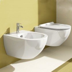Vaso Sospeso Senza Brida e Bidet Sfera 54 Catalano in Ceramica Bianco Lucido + Copriwc soft close plus