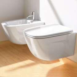 Vaso Sospeso Senza Brida art. 1VSLIR00 + Bidet art. 1BSLIR00 New Light Nf 53 Catalano