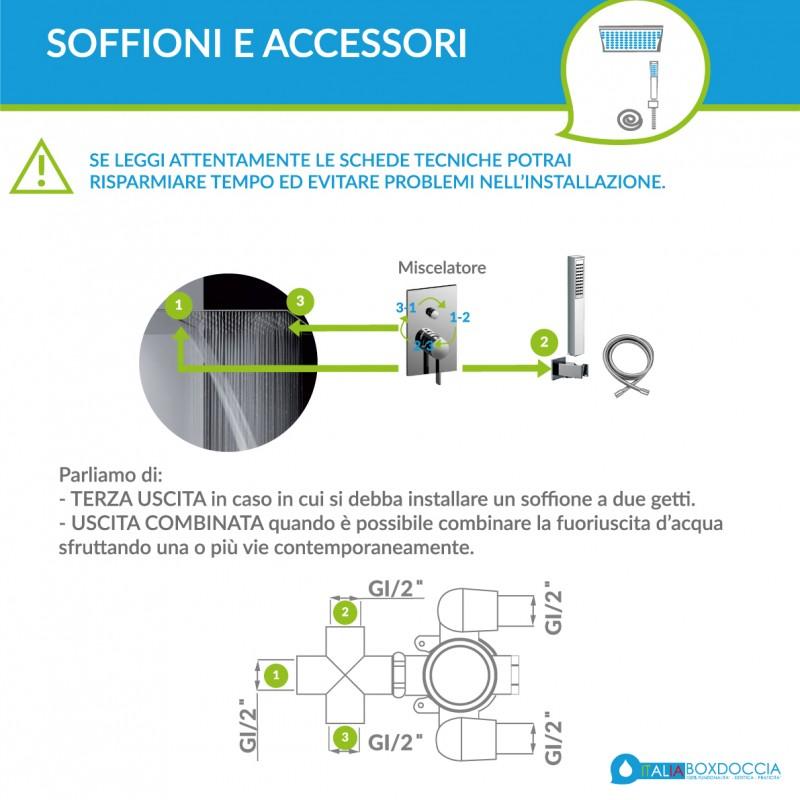 Paffoni Level Soffione Quadrato 30x30 Miscelatore Deviatore LEC015CR