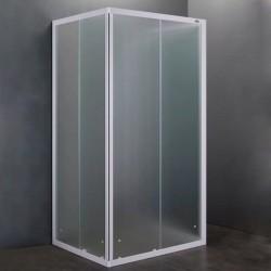 Box Doccia da Centro Stanza ad U in Acrilico 2,2 mm Altezza 184 cm Profilo Bianco (cod.95510)