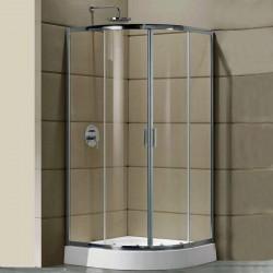Box Doccia Semicircolare 80x80 cm Cristallo 6 mm Profili Cromo Altezza 185 cm art. OM9
