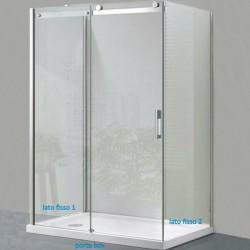Box Doccia da Centro Stanza ad U Cristallo 8 mm Profilo Cromo Altezza 200 cm art. OS15