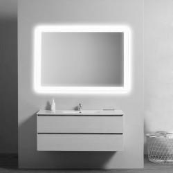 Su Misura Specchio da bagno Sagomato con Angoli Stondati e Cornice Sabbiata Retroilluminata led 24W art. spe01