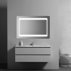 Su Misura Specchio da bagno Sagomato con Angoli Stondati e Cornice Sabbiata Retroilluminata led 15W art. spe07