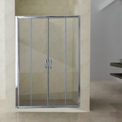 Box Doccia a Doppia Porta Scorrevole Altezza 195 cm Cristallo 6 mm Trasparente Profilo Cromo art. H6