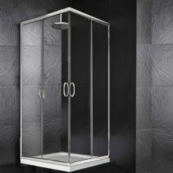 Box Doccia Angolare Cristallo 6 mm Profilo Cromo Altezza 195 cm art. H21