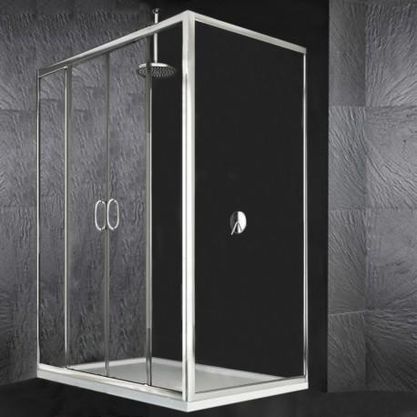 Box Doccia con Doppia Porta Scorrevole + Laterale Fisso Cristallo 6 mm Altezza 195 cm art. H15
