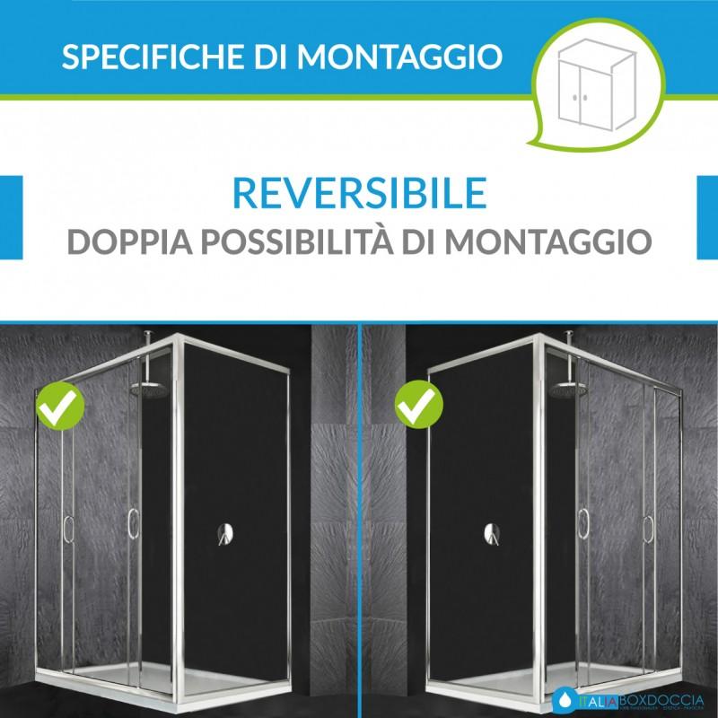 Box Doccia con Doppia Porta Scorrevole + Laterale Fisso Cristallo 6 mm