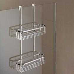 Mensola a 2 Piani Rettangolare 9 cm per Fissaggio Vetro Box Doccia Liberty art. LI1212 Carlo Iotti