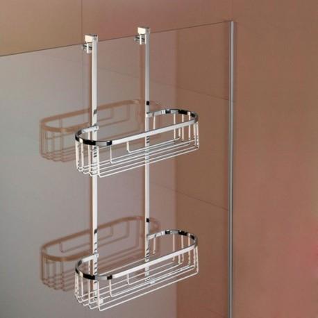 Mensola a 2 Piani Rettangolare 12 cm per Fissaggio Vetro Box Doccia Liberty art. LI1313 Carlo Iotti