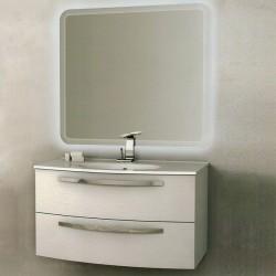 Mobile da Bagno Sospeso 75 cm Frassino Bianco con Lavabo e Specchiera con Accensione Luce Touch