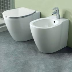 Sanitari Filo muro Ideal Standard Connect Wc AQUABLADE® con Scarico Traslato Bidet e Coprivaso Ultra Slim