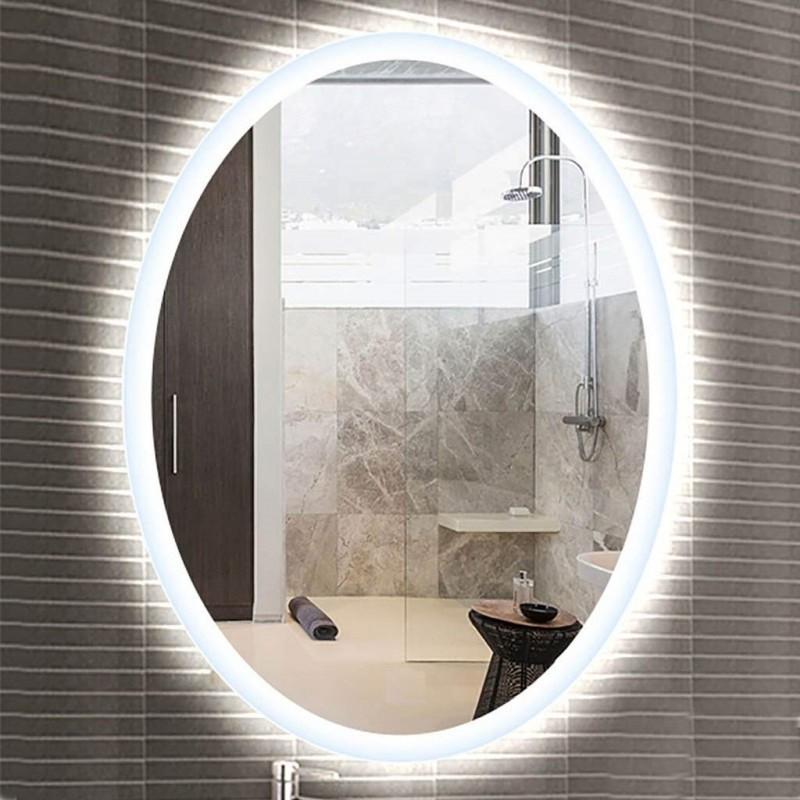 Specchio Bagno Con Led Prezzi.Specchio Bagno Filo Lucido Retroilluminante Led 20w Rotondo Ovo