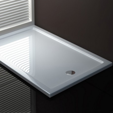 Piatto Doccia 80 x 100 cm in Acrilico Sanitario di Colore Bianco Altezza 3,5 cm