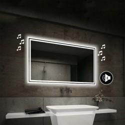 Specchio da Bagno con Angoli Squadrati Altoparlante Bluetooth e Doppia Cornice Sabbiata Retroilluminata led 20W art. spe84
