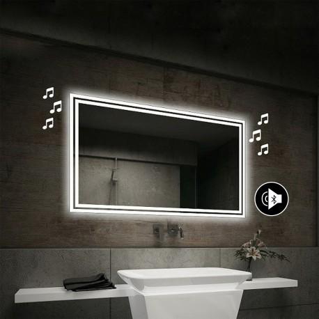 Su Misura Specchio da Bagno con Angoli Squadrati Altoparlante Bluetooth e Cornice Sabbiata Retroilluminata led 20W art. spe84