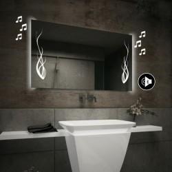 Specchio da Bagno con Angoli Squadrati Altoparlante Bluetooth e Disegno Floreale Retroilluminato led 20W art. spe86
