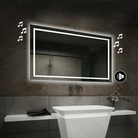 Specchio da Bagno con Angoli Squadrati Altoparlante Bluetooth e Cornice Sabbiata Retroilluminata led 20W art. spe87
